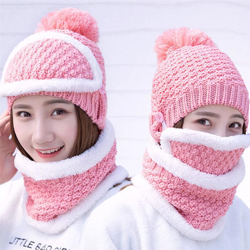 Bonnet / Crâne Caps Casquettes 3 Pièces Set Chapeau tricoté pour femmes avec bavoir et masque Écharpe Col chaud Casquette d'hiver pour les dames crullies Bonnet Foire chaude