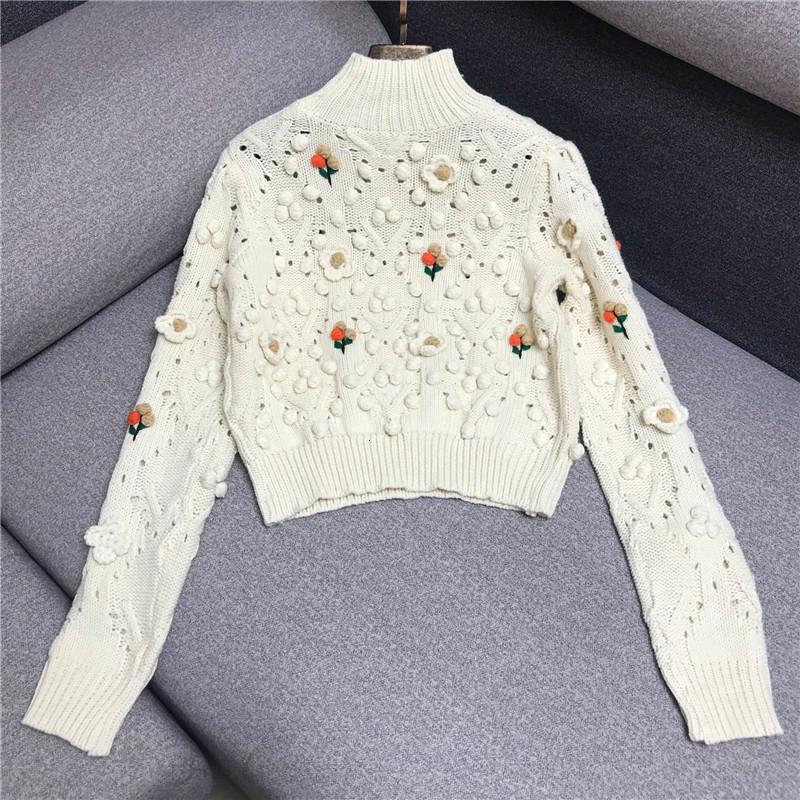 Malhas 2021 outono inverno moda suéteres mulheres turtleneck crochet tricô padrões de flores manga longa casual pulôveres senhoras