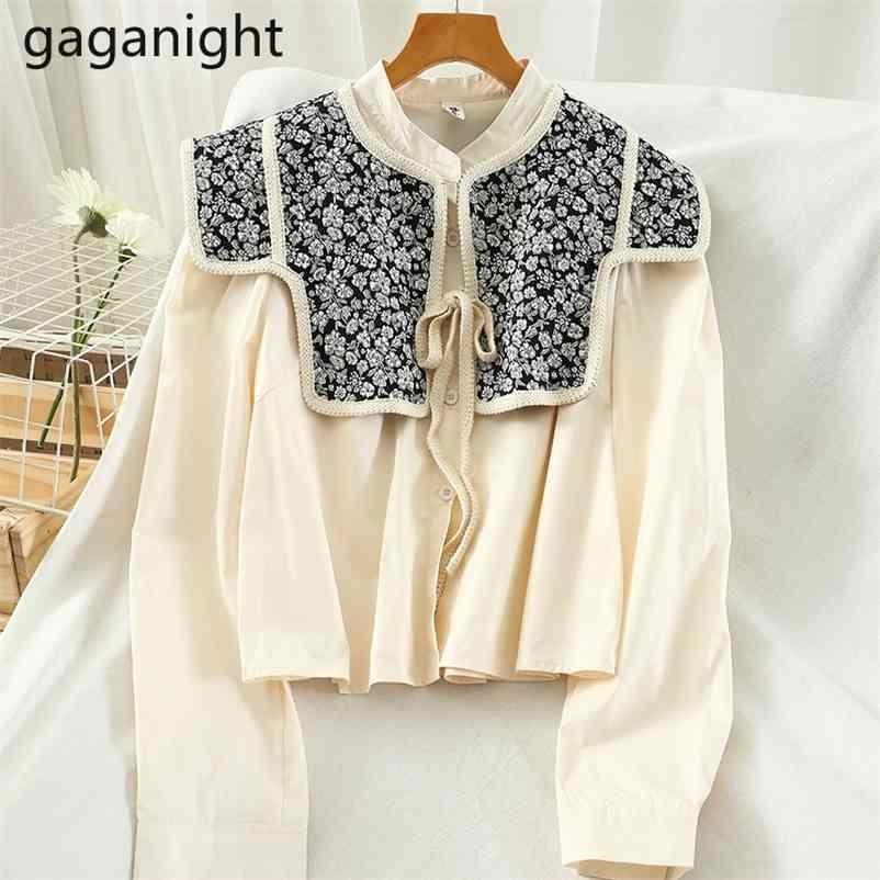 GaGanight Vintage Kadınlar Bluz Katı Uzun Kollu Mahsul Gömlek Ofis Bayan Bluzlar Çiçek Şal Moda Gömlek Korece Dış Giyim ile 210323