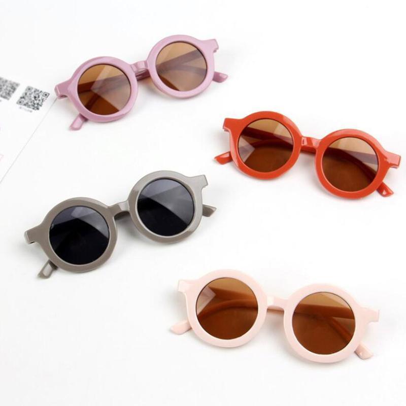 Mode rétro rond enfants lunettes de soleil garçons filles lunettes lunettes vintage chirren coloré bébé nuances lunettes UV