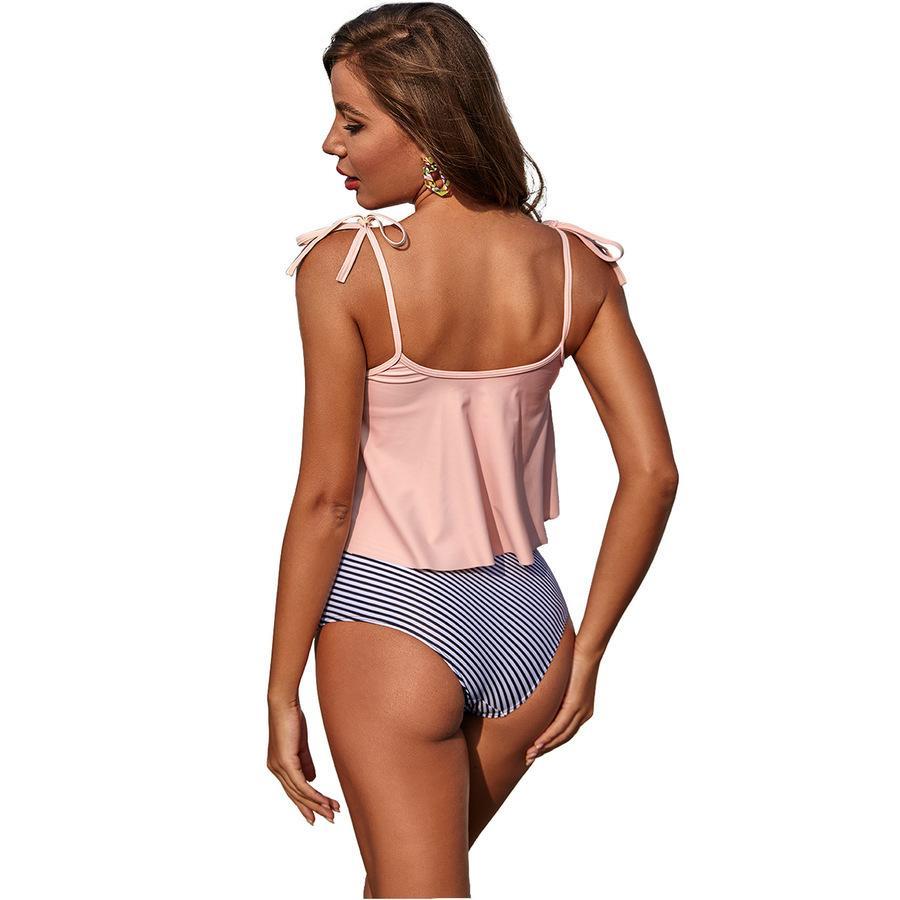 Traje de baño con volantes de bikini de Europa para mujeres 2 sets Sexy Playa Paño Fémina Nuevos estilos para U PBCC