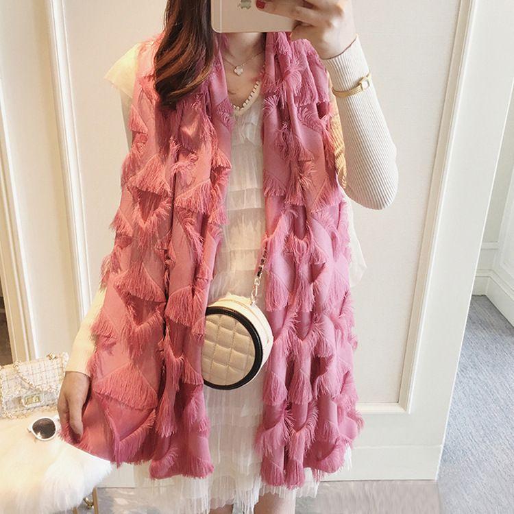 Flor tridimensional borla cachecol filamento cor sólida ladies dama versátil lenço xaile