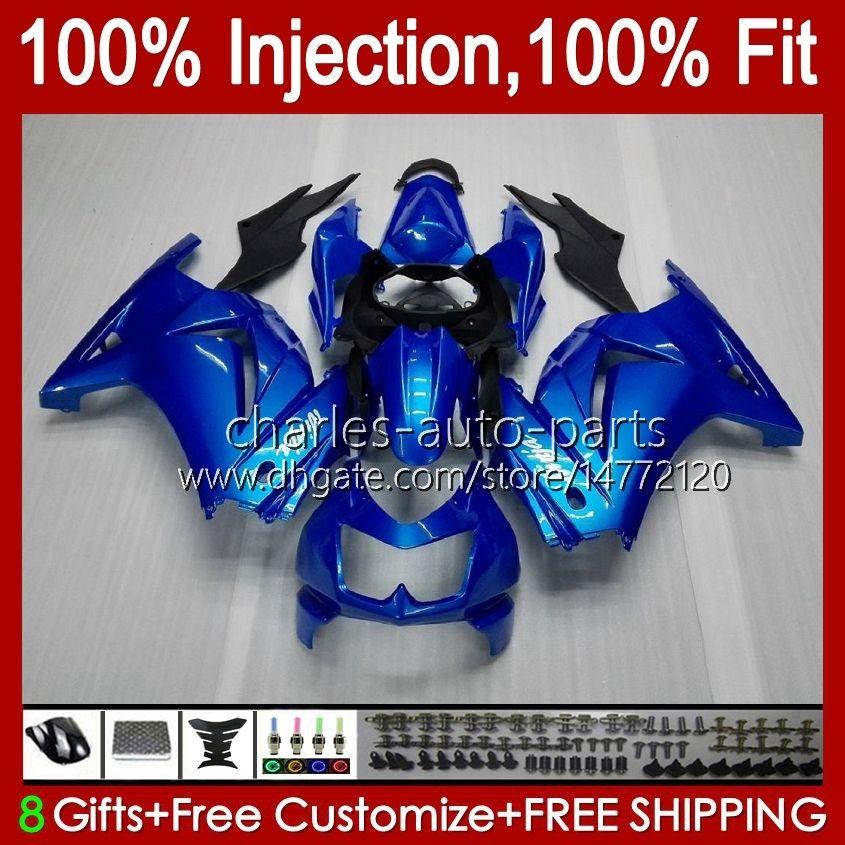 Injection pour Kawasaki Ninja ZX250R EX250R ZX-250 ZX 250R 13HC.29 Pearl Blue BLK ZX250 2008 2009 2010 2011 2012 EX250 08 09 10 11 12 Catériel