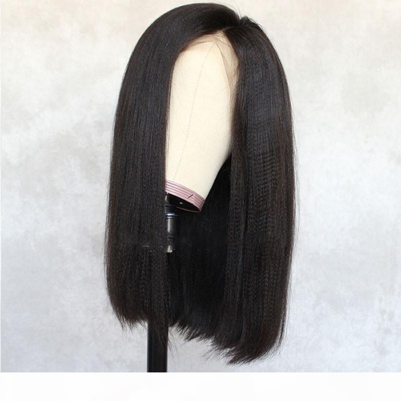 Perruques avant pincées de la dentelle Italienne Yaki Heart Heart Hair Perruques pour femmes noires avec perruque de cheveux naturels pour cheveux