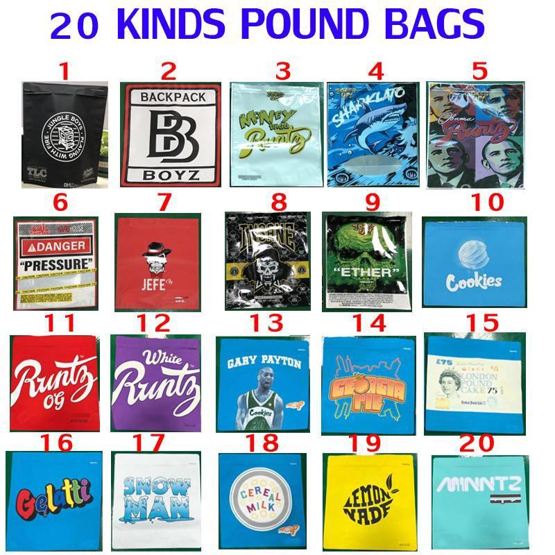 1 LB Pound Bag 16oz Cookies Backpackboyz Pressione Sharklato Soldi BAGG Odore Proof Imballaggio Obama Runtz Pacchetto Borse Facile Riempimento