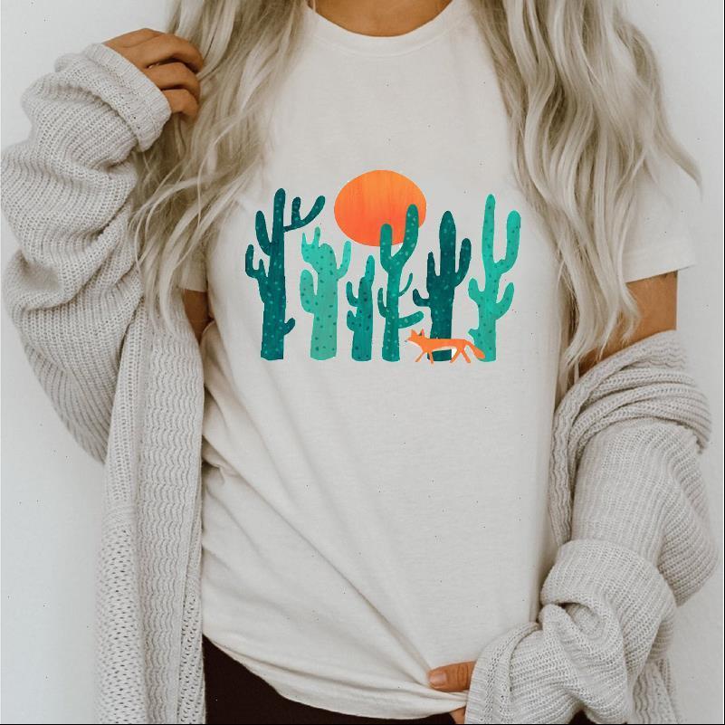 Womens tops mulheres gráfico cacto planta 90s estilo moda primavera verão impressão senhora roupa roupas tees imprimir fêmea tshirt t