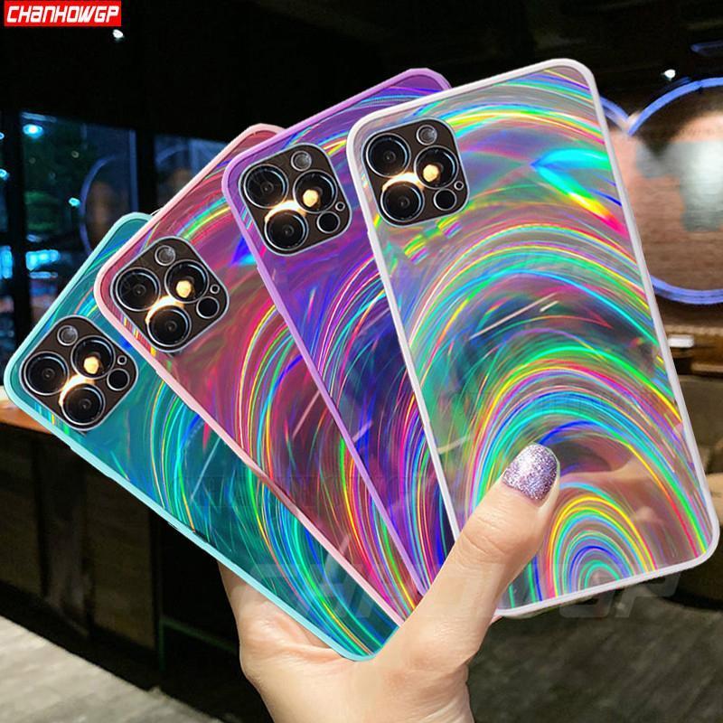 Glitter Rainbow Phone Capas para Apple iPhone 12 11 Pro Mini 6 6S 7 8 Plus XR X XS Max Light Aurora Soft Back Capa