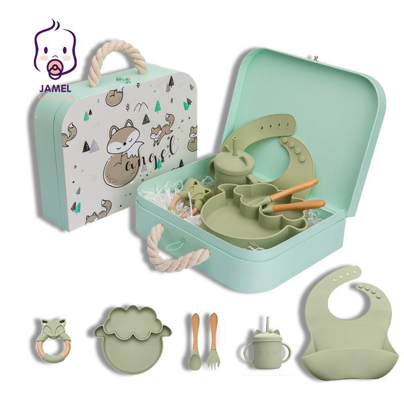 6PCS/Set Silicone Bowl Bibs Cup Tableware Baby BPA Free Waterproof Spoon Feedings Tableware Baby Products Cutlery Set Gift 210317