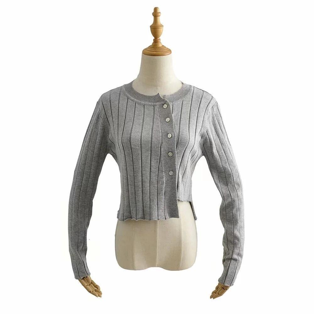 Camisola feminina 2021 outono moda tendência em volta do pescoço único breasted irregular de malha casaco de cardigan