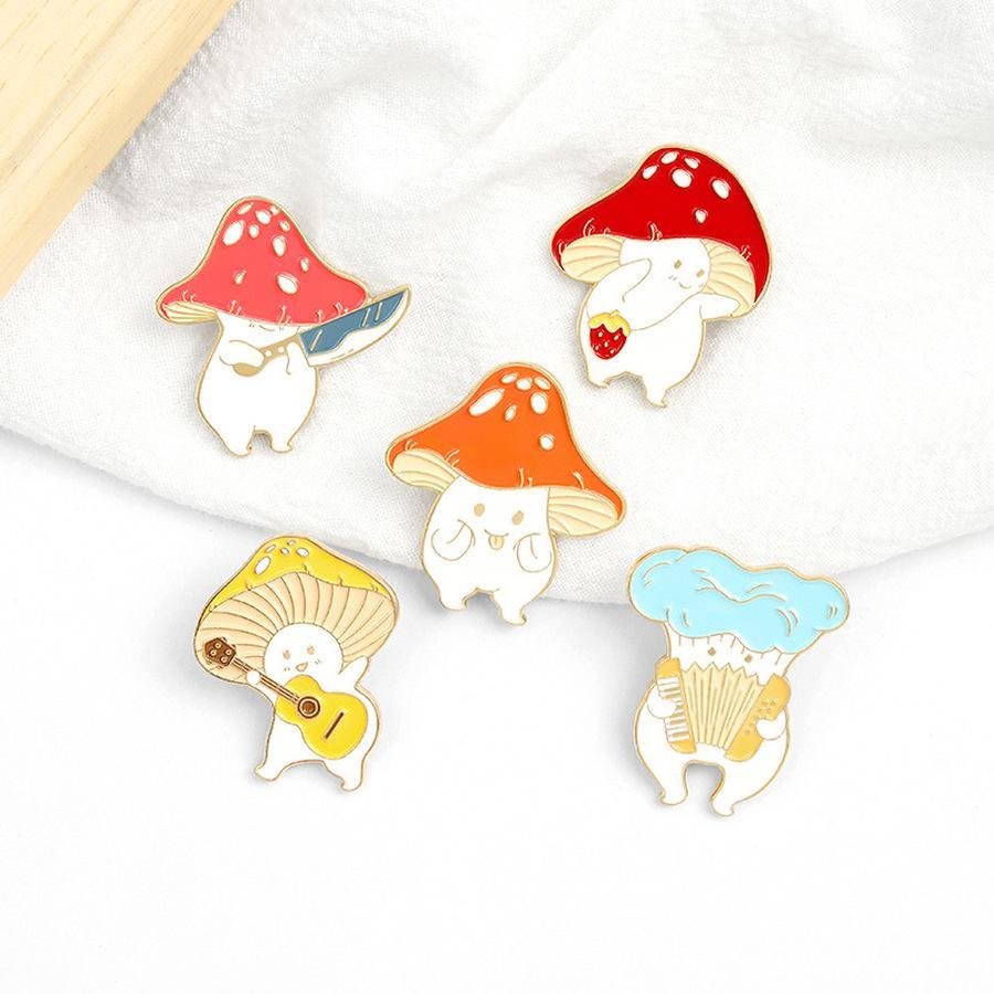 Music Fungo Brooches Pins Cartoon Smalto Smalto Pin Lepal Badge per le donne Uomini Bambini gioielli moda gioielli e sabbioso