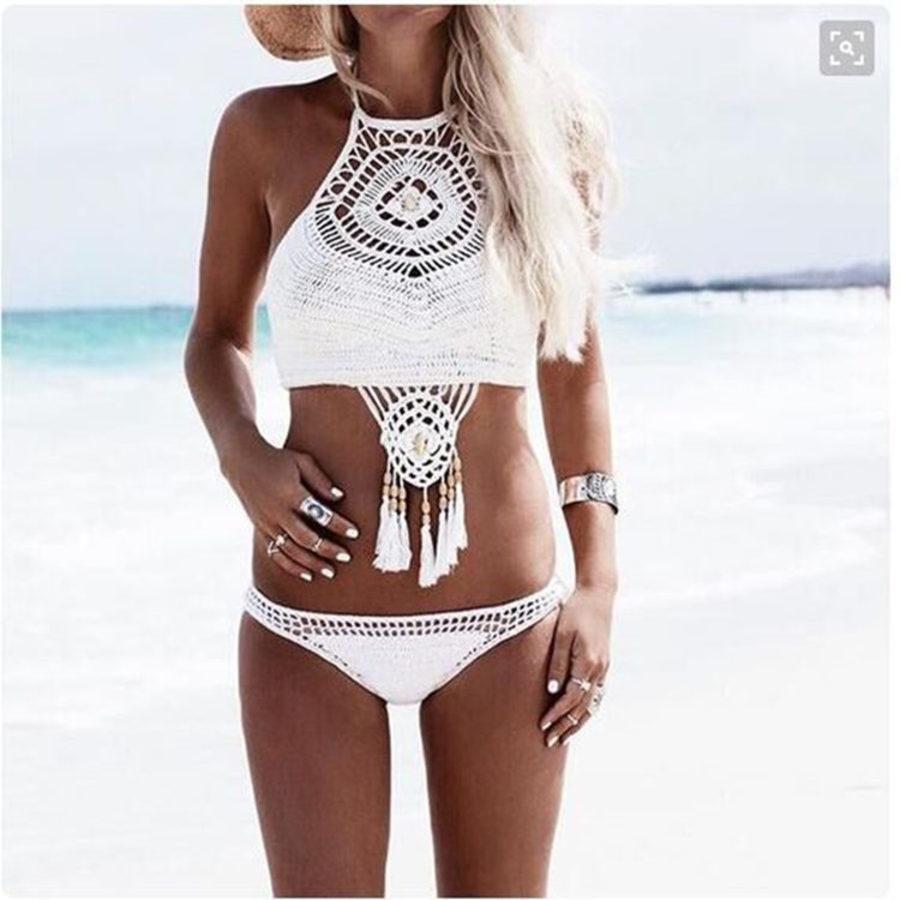 Solid Hand Woven Tassel Femenina Crochet Bikini Swimsuit LMK1