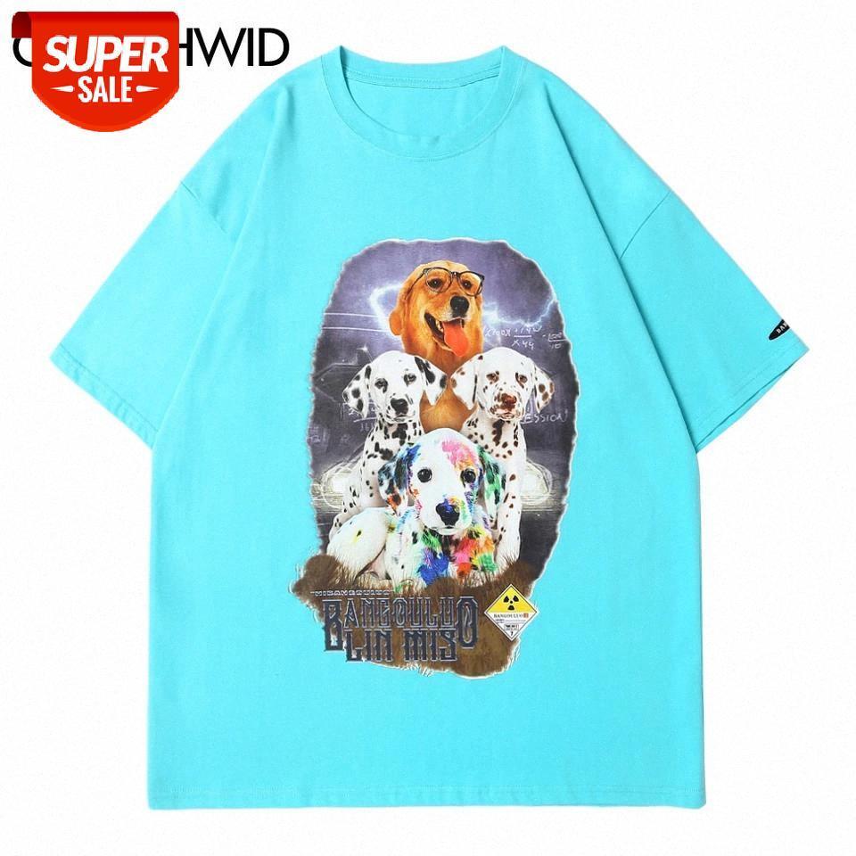 Tees Gömlek Harajuku Köpekler Hayvan Baskı Kısa Kollu Tişörtleri Hip Hop Harajuku Casual Streetwear Erkek Moda Pamuk Tops # 2V0R