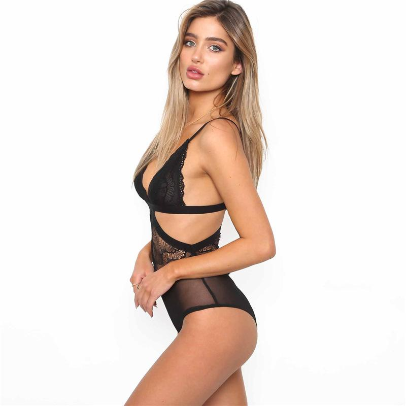 Hampers for S BRA MUMPSUITS Mujeres Patchwork Lace Slim V Cuello Body Slimming High Cintura Chaleco Blanco Negro Sexy