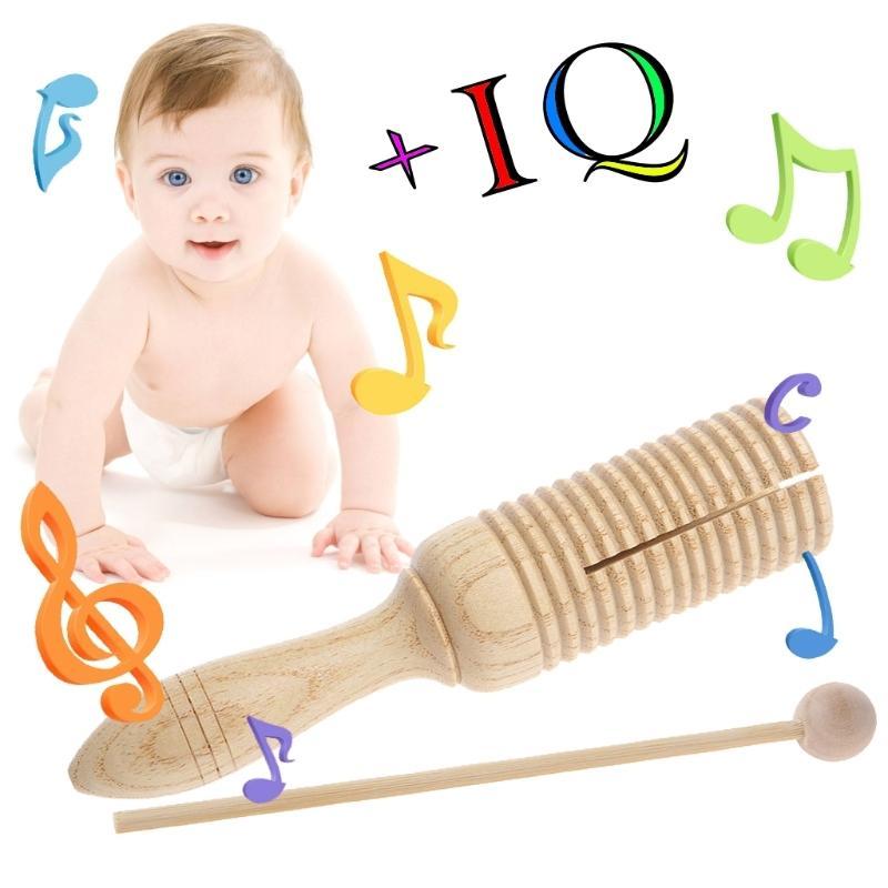 Soltero de madera Agogo Guiro Tone Block Percussion con batidor de juguete musical Niño regalo W15 Q0313