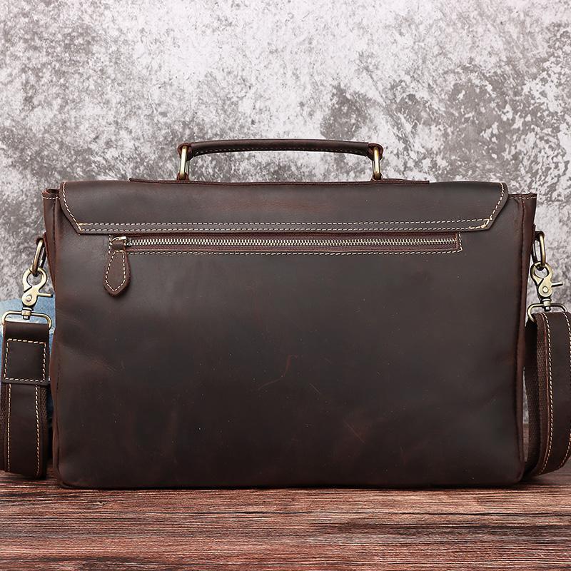 Evrak Çantaları Vintage erkek Evrak Çantası Çantası Çılgın At Deri Omuz Messenger Çanta İş Ofis El Çantası Dizüstü1 VTG0 için