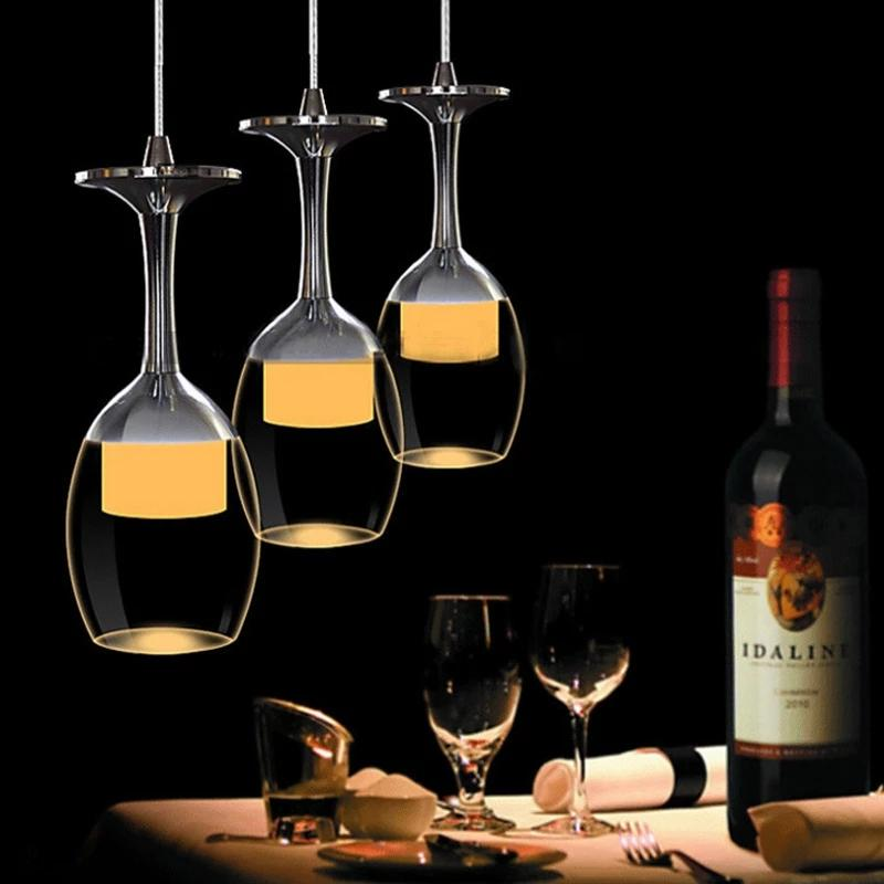 Copo de vinho LED moderno Lâmpadas de pingente de vidro branco / quente hanglamp sala de jantar restaurante restaurante lâmpada de suspensão