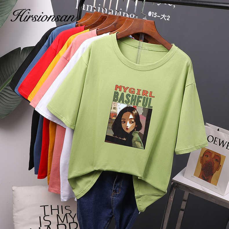 Hirsionsan Gothic gedruckt t-shirts frauen sommer koreanische schicke lose girls tees weiche übergroße weibliche baumwolle tops m-4xl 210603