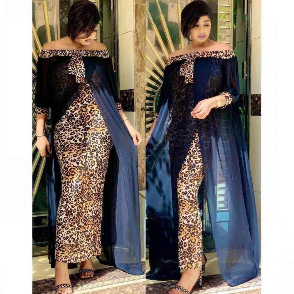 Vestidos Africano para Mujeres Dashiki Moda Léutito Lévano Maxi Largo Vestido Dividido Ocio Remiendo al aire libre Vestido sexy sin tirantes