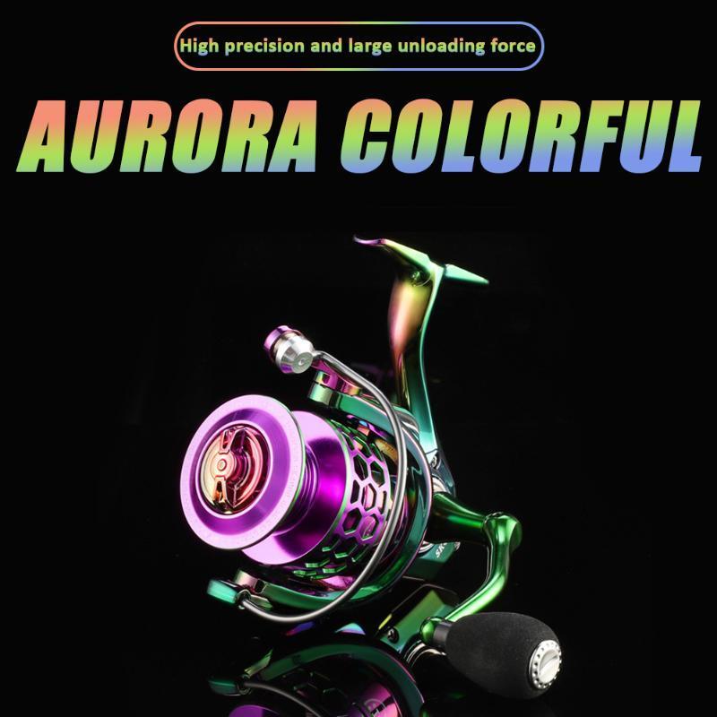 Baitcasting Reels Rainbow Color Plating Spinning Fishing Reel 14+1BB Aluminium Alloy Bearing Spool For Left Right Hand
