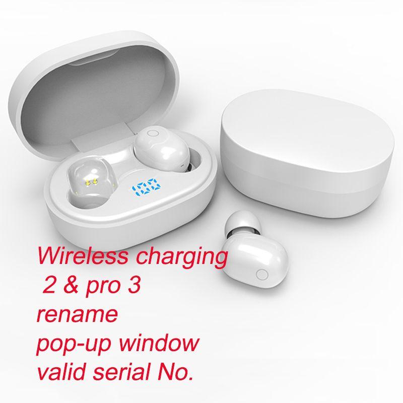 Air 2/3 TWS Fones de ouvido Renomear Pro Pop Up Up Fone de ouvido Bluetooth Auto Paring sem fio Caixa de carregamento sem fio Earbuds com número de série Válido