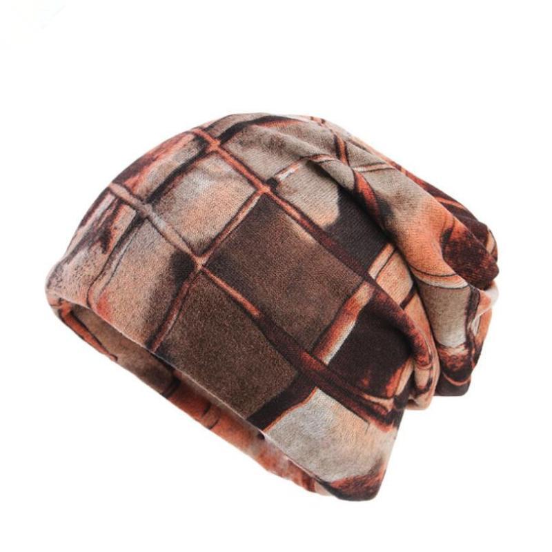 Bandanalar Türban Şapkalar Sıcak Sonbahar Kış Desen Skullies Beanie Unisex Erkekler Bayanlar Kaşmir İmitasyon Baggy Şapka Rahat Beanies Beanie / Kafatası C
