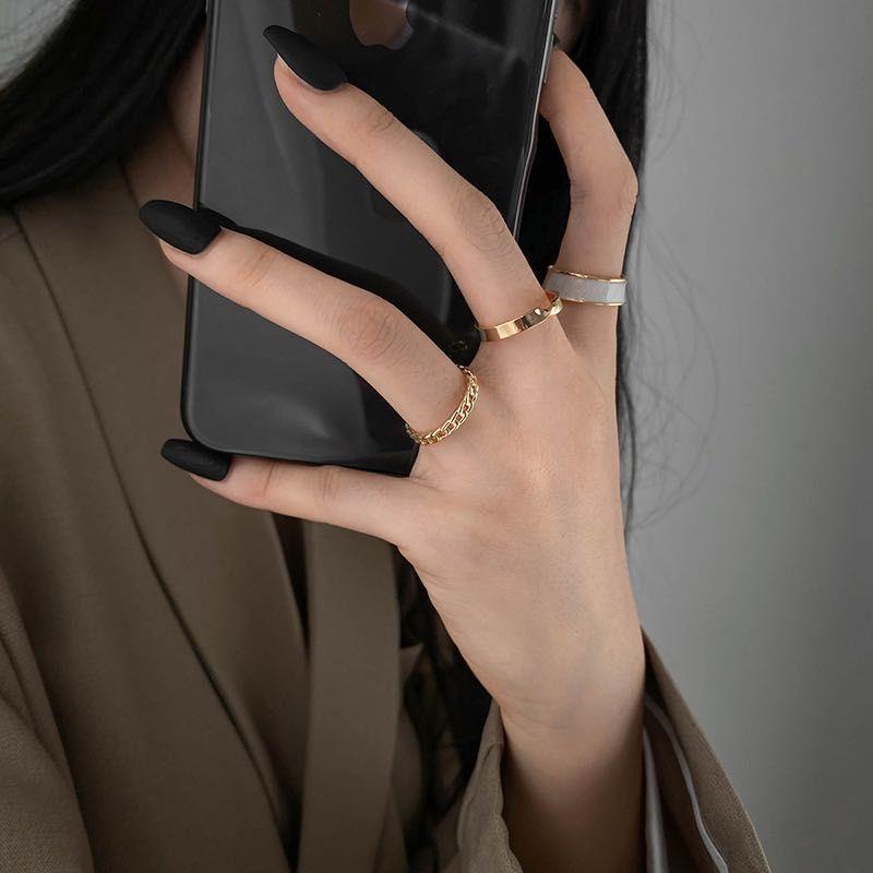 2021 Estilo gótico Tres piezas Anillos de apertura para mujer Joyería coreana de moda europea y americana boda fiesta sexy anillo