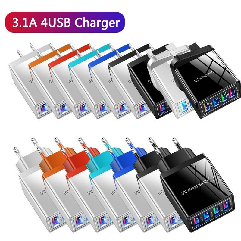 2021 Cor 4usb Carregador de Telefone Móvel 3A Tablet Viagem Cabeça Cabeça US e Europeu Standard Chargers