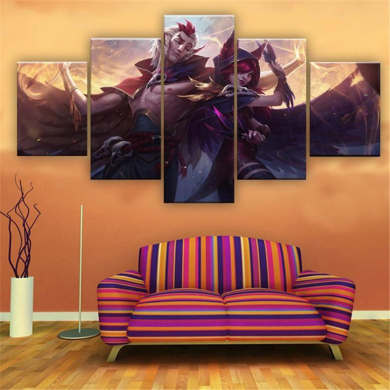 Resimler Ligi Legends Xayah Rakan Oyun Tuval Baskılı Boyama Oturma Odası Duvar Sanatı Dekor HD Resim Poster Resimleri