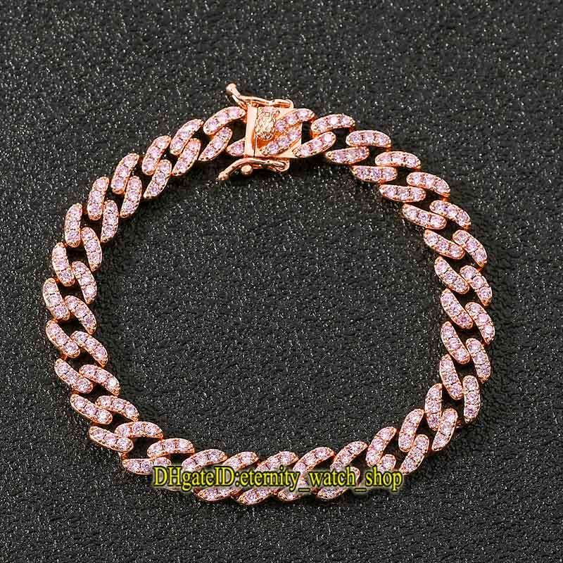 Европейский и американский браслет хип-хоп 9 мм однорядный розовый розовый CZ-Diamond браслет хип-хоп кубинские цепочки мужские и женщины со льдом из алмазного браслета