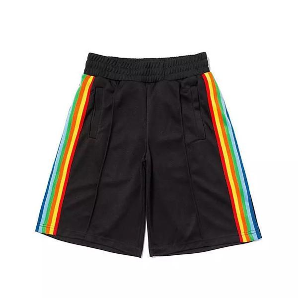 2021 Verão Mens Shorts Rainbow Strip Webbing Casual rua moda na moda marca cinco pontos Pants852