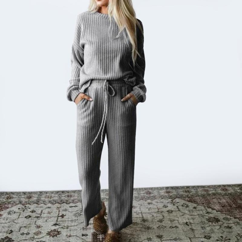 Women's Two Piece Pants NIBESSER Autumn Spring Knitted Sweatershirt Set Women Wide Leg Suit Loose Solid Casual 2 Tracksuit