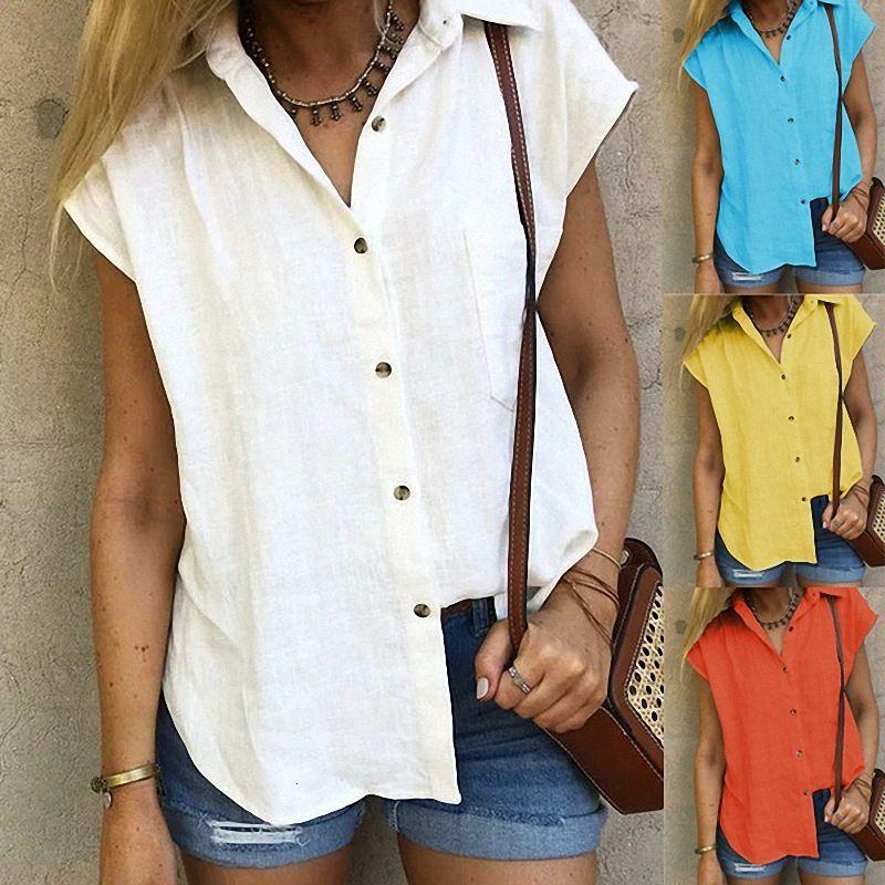 2021 Cardigan Women's Casual Lapel Camisa suelta Spring y verano Cuatro Color Cinco Tamaño