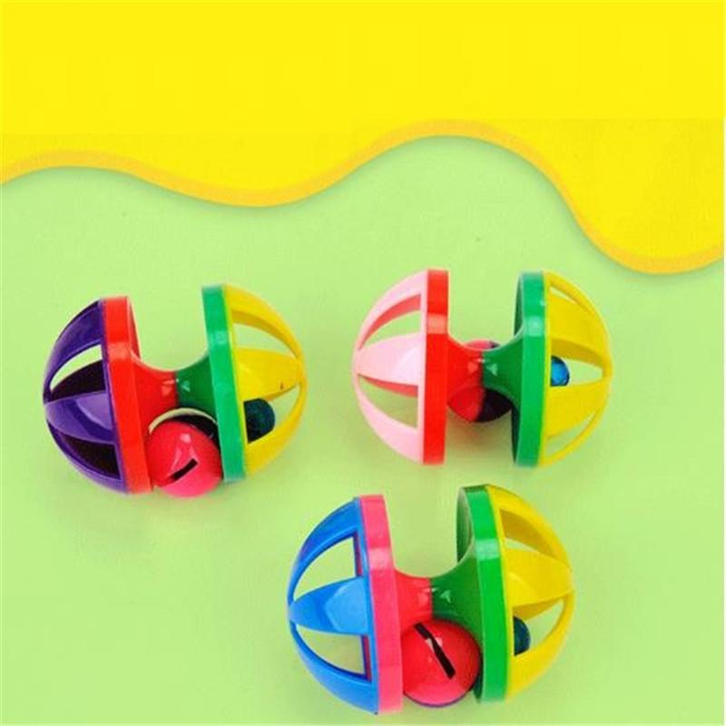 Toys for Cats Ball with Bell Ring Playing Chew Scratch Plastic Ball Interactive Cat Training Toys Pet Cat Supply CCF7777