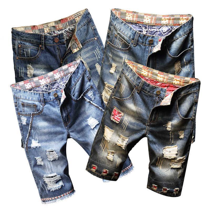Moda Marca Jeans Pantalones cortos NOSTALGIC AZUL BEGGAR HOLE CAPRIS Hombre