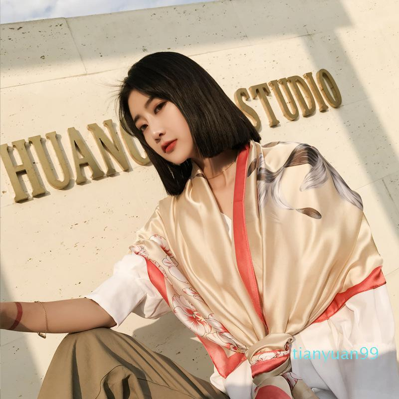 Lenços Envoltam a Primavera e Verão Estilo Coreano Silk Gaze Gaze Gaze Ar Condicionado Shawl Beach Towel Sun Proteção pelo lenço do mar