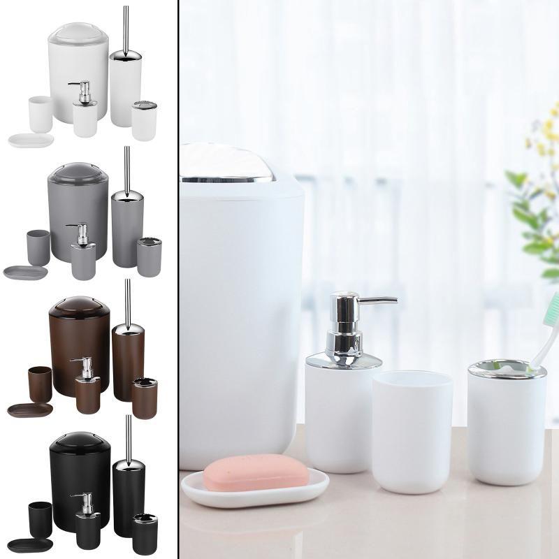 6pcs conjunto de banheiro titular titular escova de dentes escova de copo de sabão Dispenser acessórios de prato acessório de banho