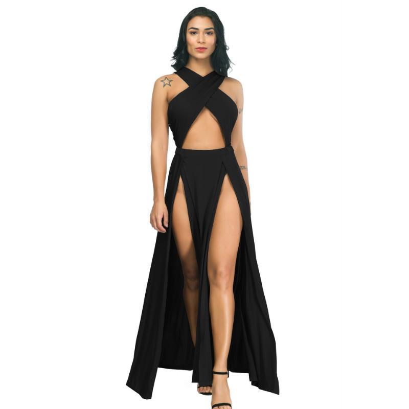 ليلة اللباس vestidos الأسود غير النظامية سبليت ضمادة فستان طويل 2020 أزياء المرأة الصيف فساتين عارضة فساتين امرأة حزب جديد وصول مثير