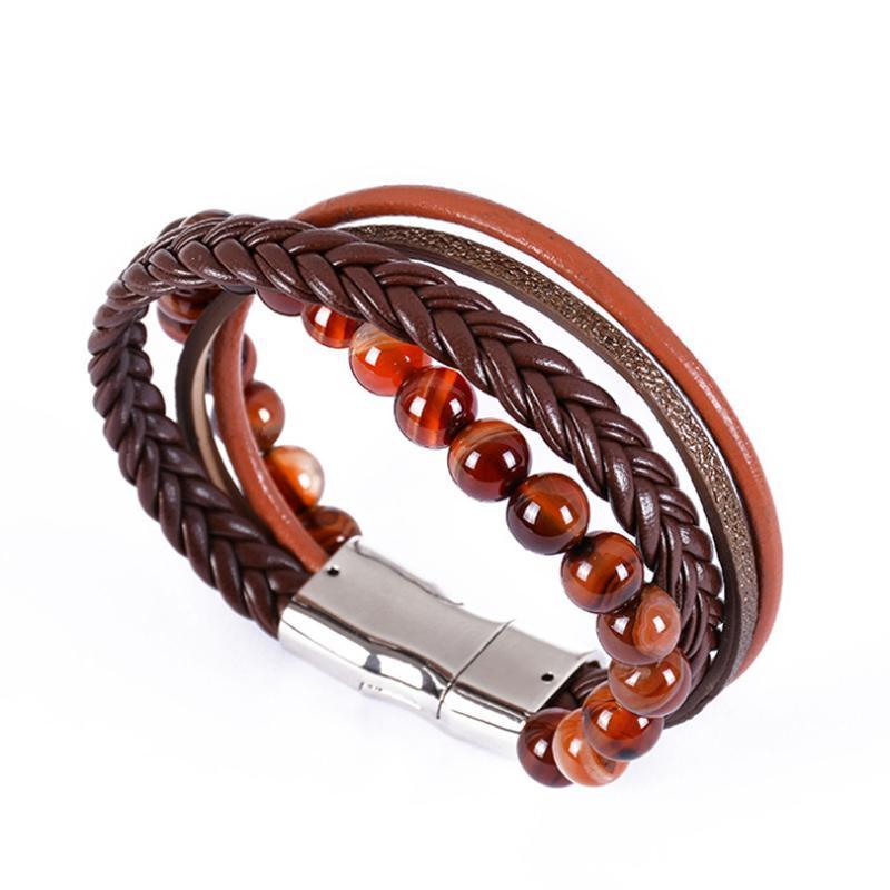 3pcs / Set Natural Rouge Blue Perle Perlée Essential Huile Bracelet Seven Chakra Yoga Magnet Aimant Fermoir Energie Charme Douce Joaillerie Perlée, Strands