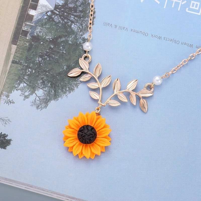 Pendentif de tournesol multicolore Laisser collier de branche collier argenté collier d'or chaîne femme fille fille bijoux xmas Colliers cadeaux