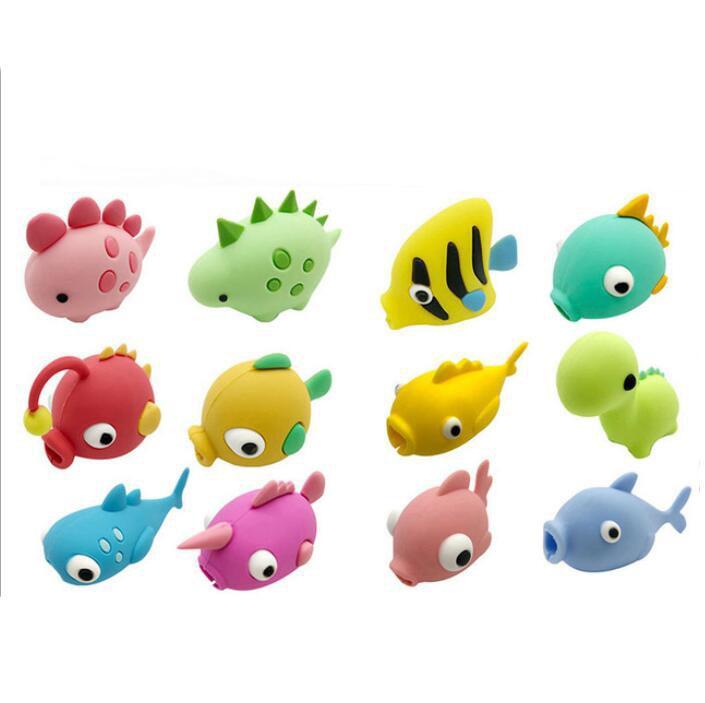 12 أنماط كابل حامي الأسماك تنين الحيوان لدغة ل فون حماة التبعي شاحن الحبل كابل لدغات الهاتف الذكي سامسونج