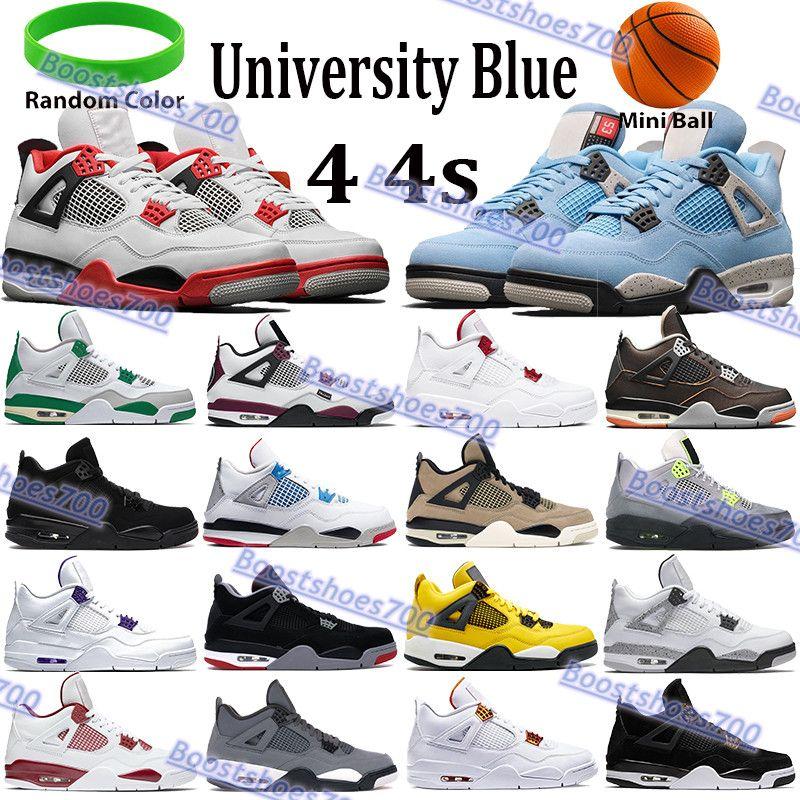 الأحدث 4 4S الرجال أحذية كرة السلة النار الأحمر الأسود القط الصنوبر الأخضر حذاء معدني الأرجواني البرتقال ما رجل المدربين الرياضة