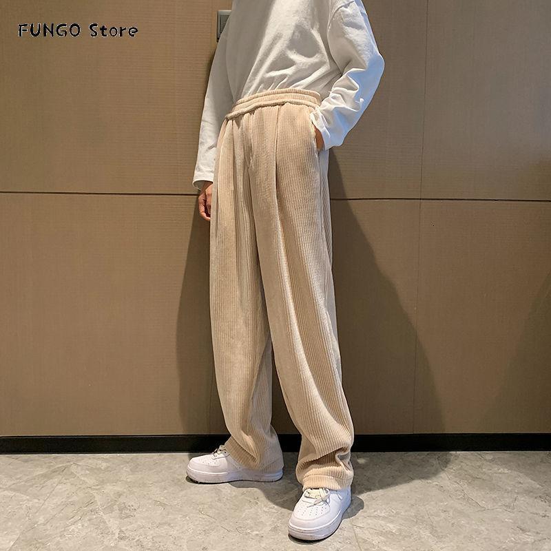 Korean Style Wide Leg Pants Men's Fashion Retro Gold Velvet Casual Men Streetwear Loose Hip-hop Straight Trousers Mens
