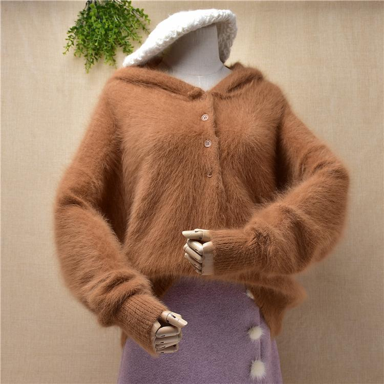 Ladies Women Fashion Hairy Fuzzy Warm Angora Fur Knitted Hoodie With Hat Loose Plus Size Pullover Winter Jumper Sweaters Women's