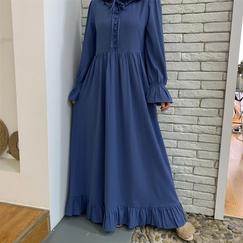 Donne Dolce Dolci Maxi Dress Ruffles Collare abbottonato anteriore maniche lunghe cravatta Vita musulmana Modest Robe Colore solido Abaya Turchia Eleganza Etnico Clot