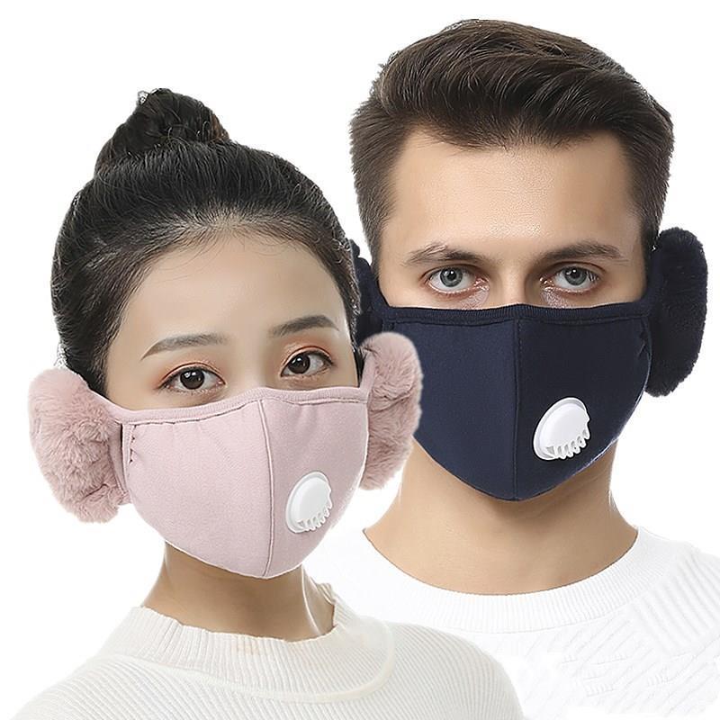2 Maske 1 Gesichtsventil Mundmuffel Plüsch Ohrflasche im Winter Mund Warmmasken Ohrenschützer mit Outdoor-Radsport-Gesichtsmaske mit 2 stücke Filter Rra Xnur