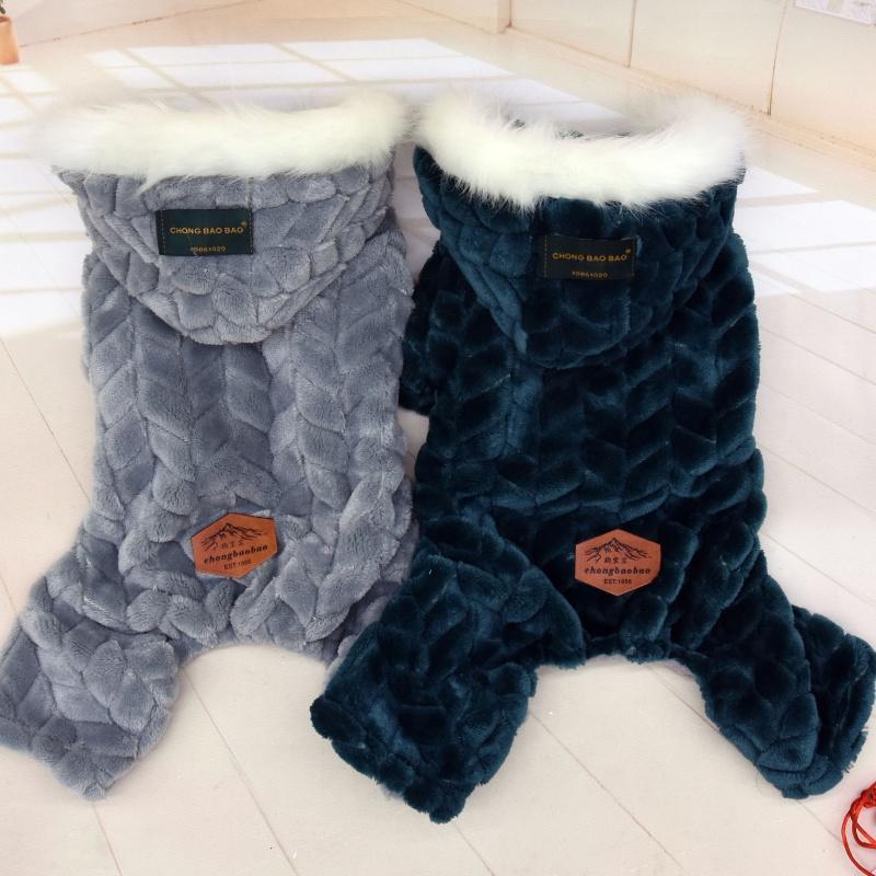 Pet Dog Roupas Inverno Quatro Pernas Jumpsuits Engrossar Animais Pets Caquetes Roupas roupas para Chihuahua Teddy Cães Traje Fato