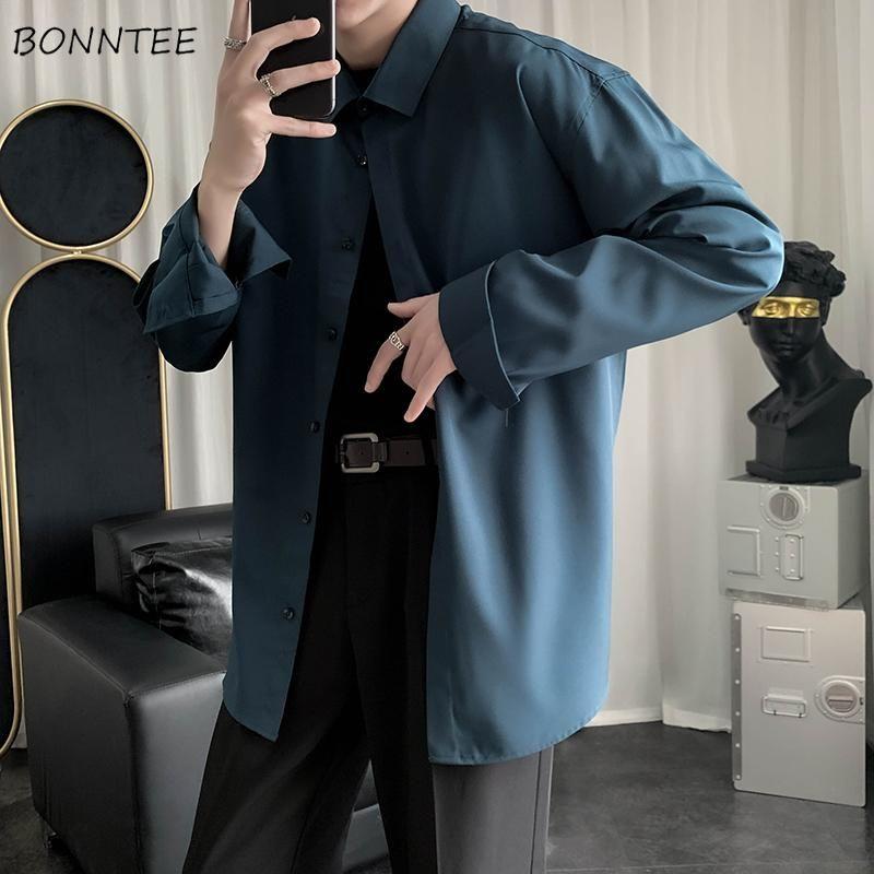 남성 셔츠 단단한 복고풍 간단한 매일 남자 의류 남성 ics 세련된 레저 소프트 모든 일치 한국 스타일 느슨한 패션 streetwear 남자 캐주얼