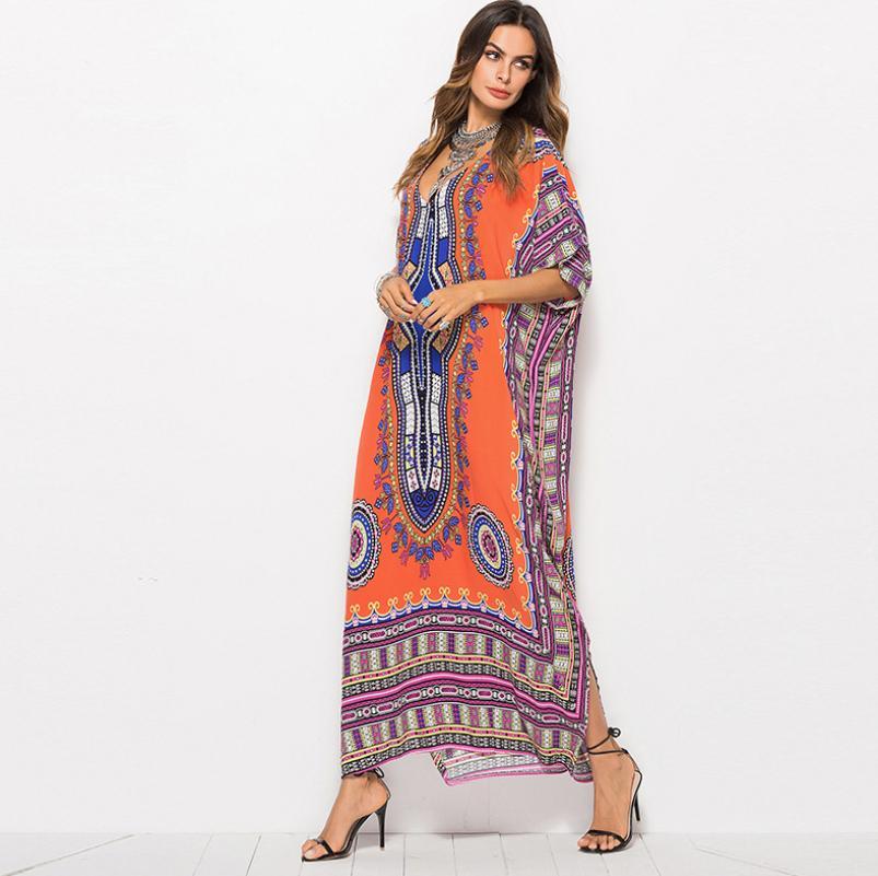 2021 Женщины Boho Wrap Seam Lond Dress Holiday Maxi Свободный Санктра Цветочный Распечатать V-образным вырезом С Длинным Рукавом Элегантные Платья Коктейль