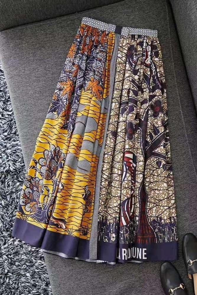 Primavera y verano 2020 Cintura alta de mujer Color de algodón puro Contraste Bosque de Mountain Posicionamiento de animales Impresión Alta Split Big Swing L
