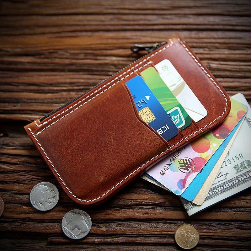 100% натуральная кожаный кошелек для мужчин женщин мужской винтаж ручной работы короткий тонкий кошелек держатель карты денег сумка с монеты молнии карманные кошельки